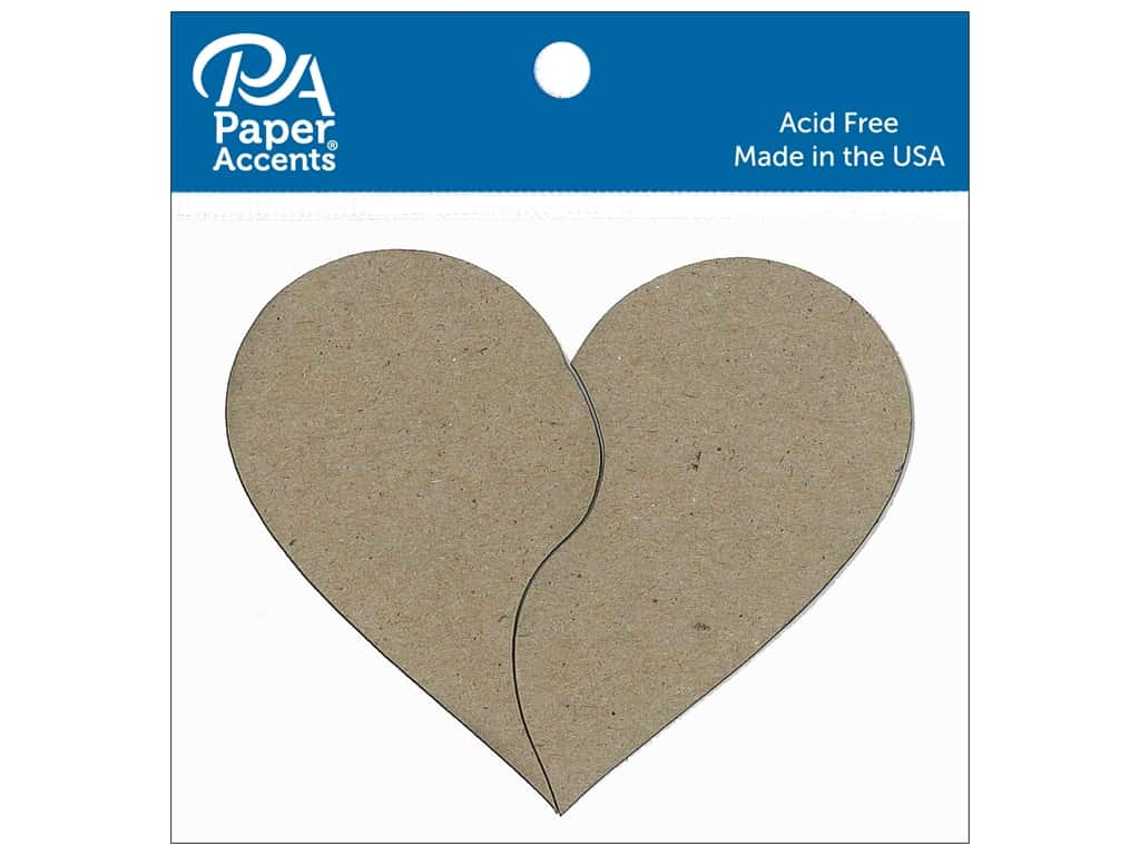 Paper Accents Chipboard Shape Pieces Of My Heart 6 pc. Natural