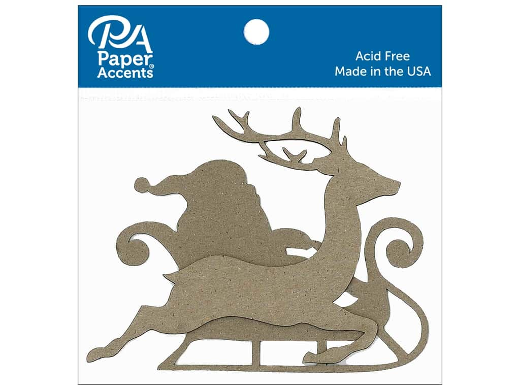 Paper Accents Chipboard Shape Sleigh with Santa & Reindeer 8 pc. Natural
