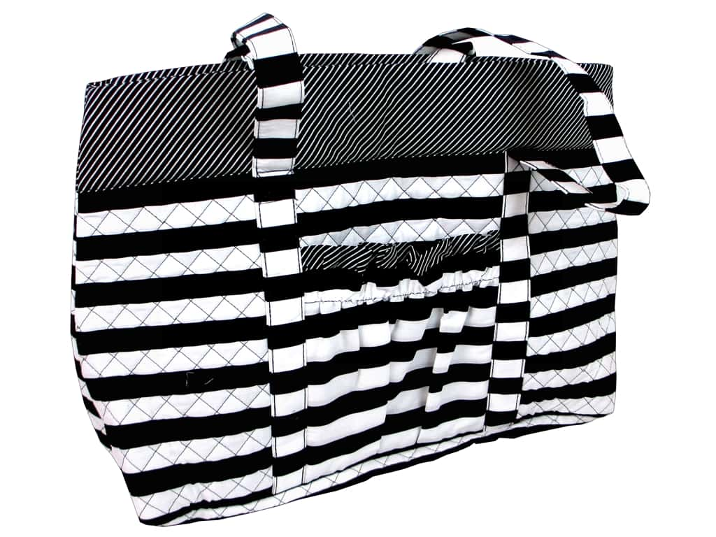 Darice Quilted Fabric Tote Bags - Black & White Stripes