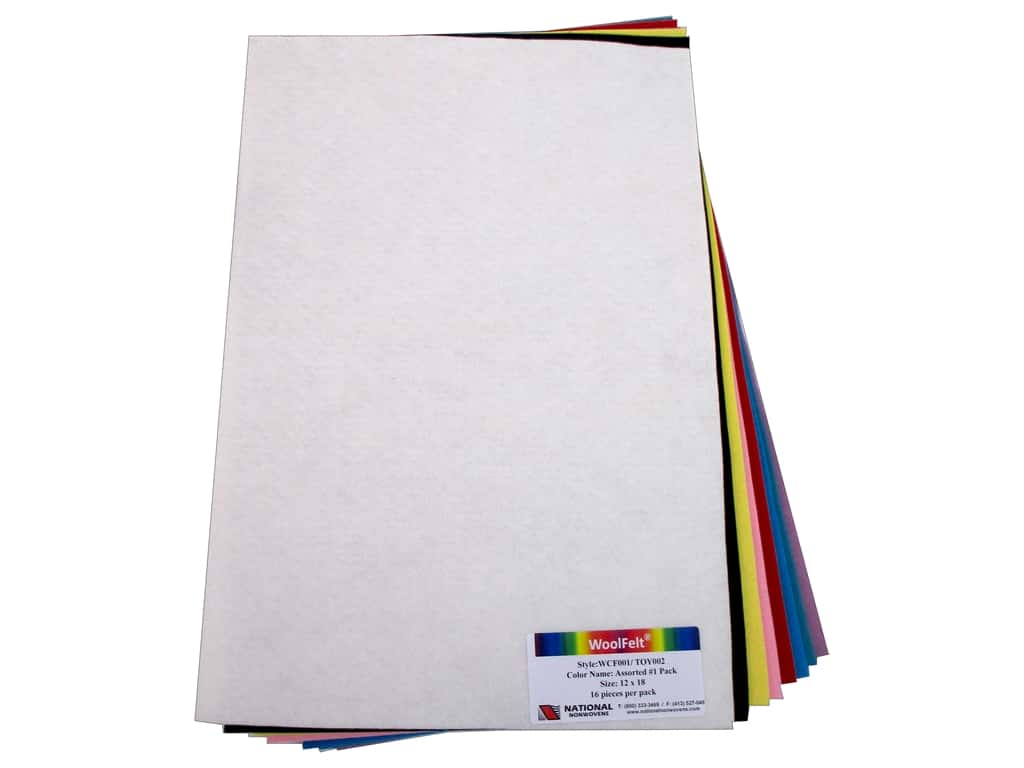 National Nonwovens 20% and 35% Wool Felt 12 x 18 in. Light Accents (16 sheets)