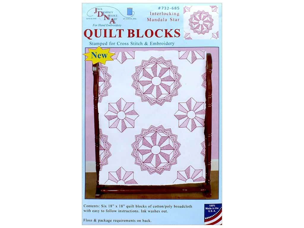 Jack Dempsey Quilt Block 18 in. White Interlocking Mandala Star 6 pc