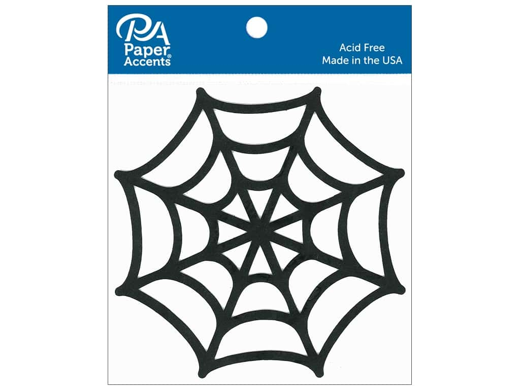 Paper Accents Chipboard Shape 6 in. Spider Web 2 pc. Black