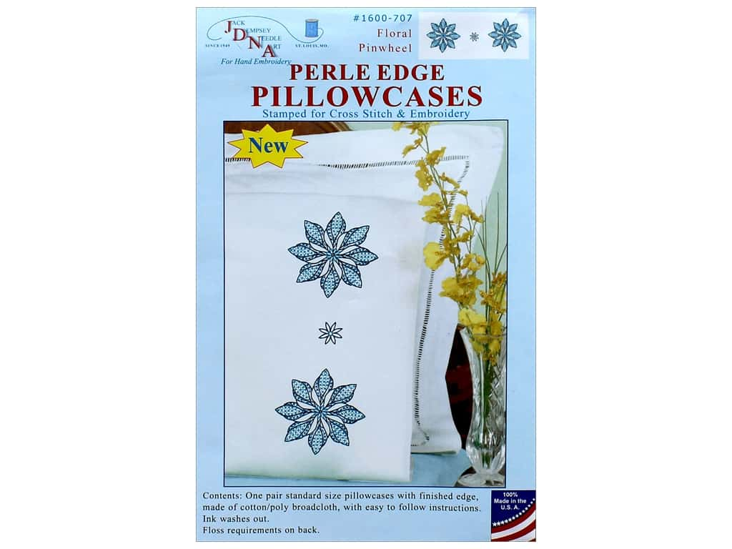 Jack Dempsey Pillowcase Perle Edge White Floral Pinwheel
