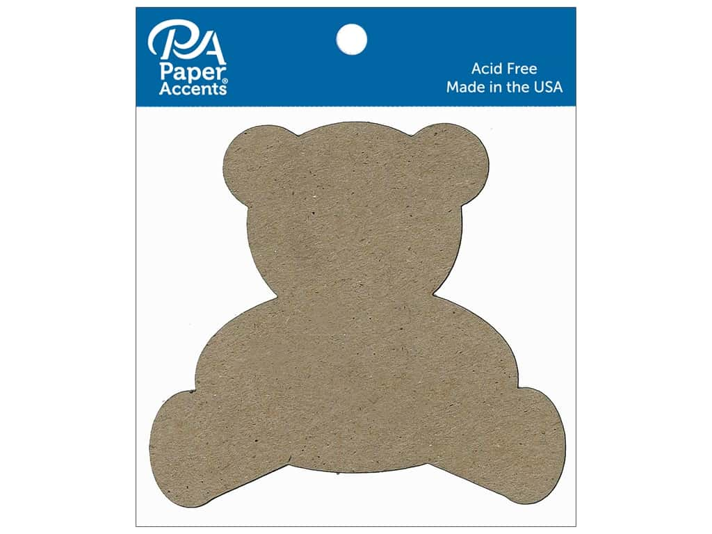 Paper Accents Chipboard Shape Teddy Bear 8 pc. Natural