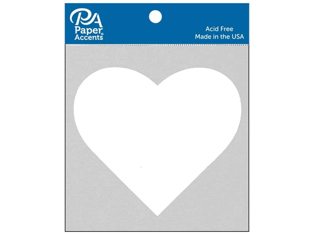 Paper Accents Chipboard Shape Heart 8 pc. White