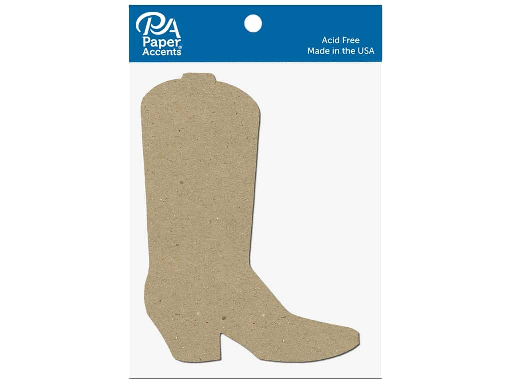 Paper Accents Chipboard Shape Cowboy Boot 8 pc. Natural