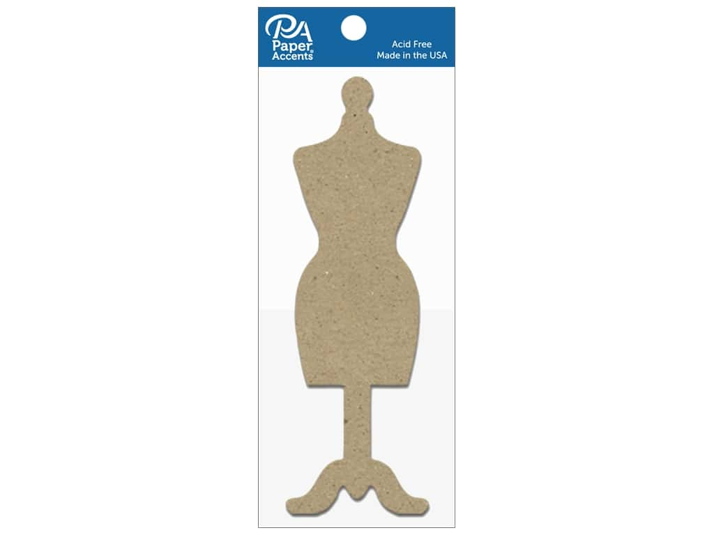 Paper Accents Chipboard Shape Dress Form 8 pc. Natural