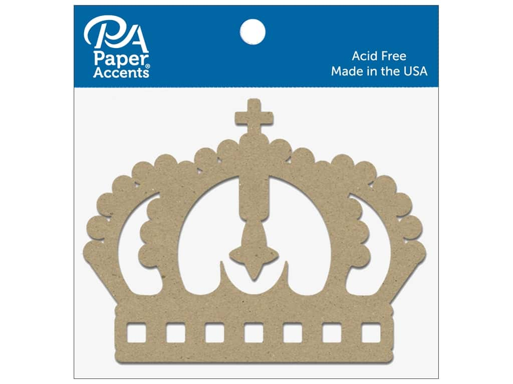 Paper Accents Chipboard Shape Crown 8 pc. Natural