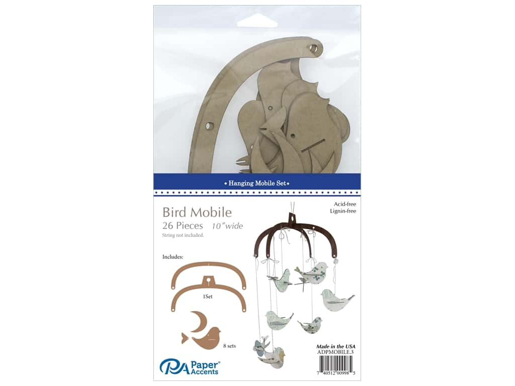 Paper Accents Chipboard Hanging Mobile Set 26 pc.Bird