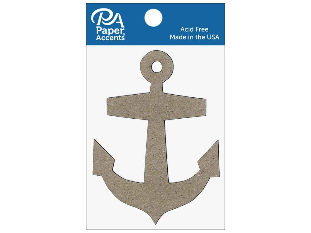 Paper Accents Chipboard Shape Anchor 8 pc. Natural
