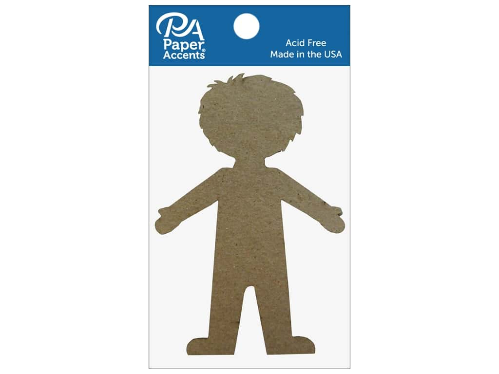 Paper Accents Chipboard Shape Boy 8 pc. Natural