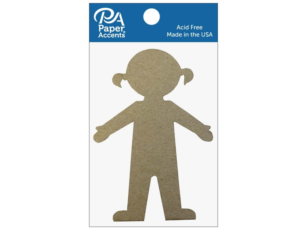 Paper Accents Chipboard Shape Girl 8 pc. Natural