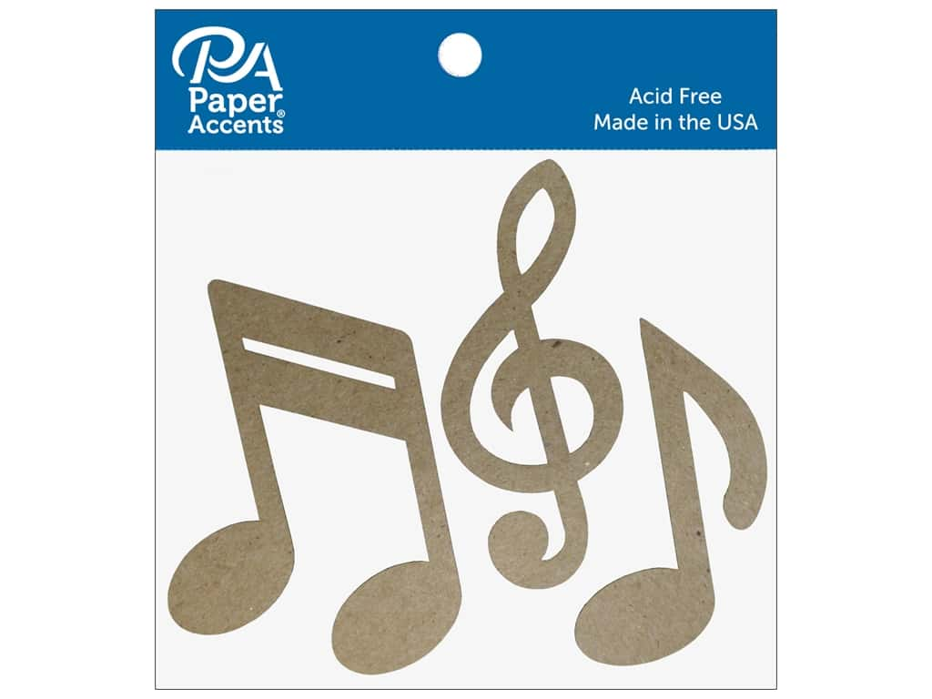 Paper Accents Chipboard Shape Music Notes 8 pc. Natural