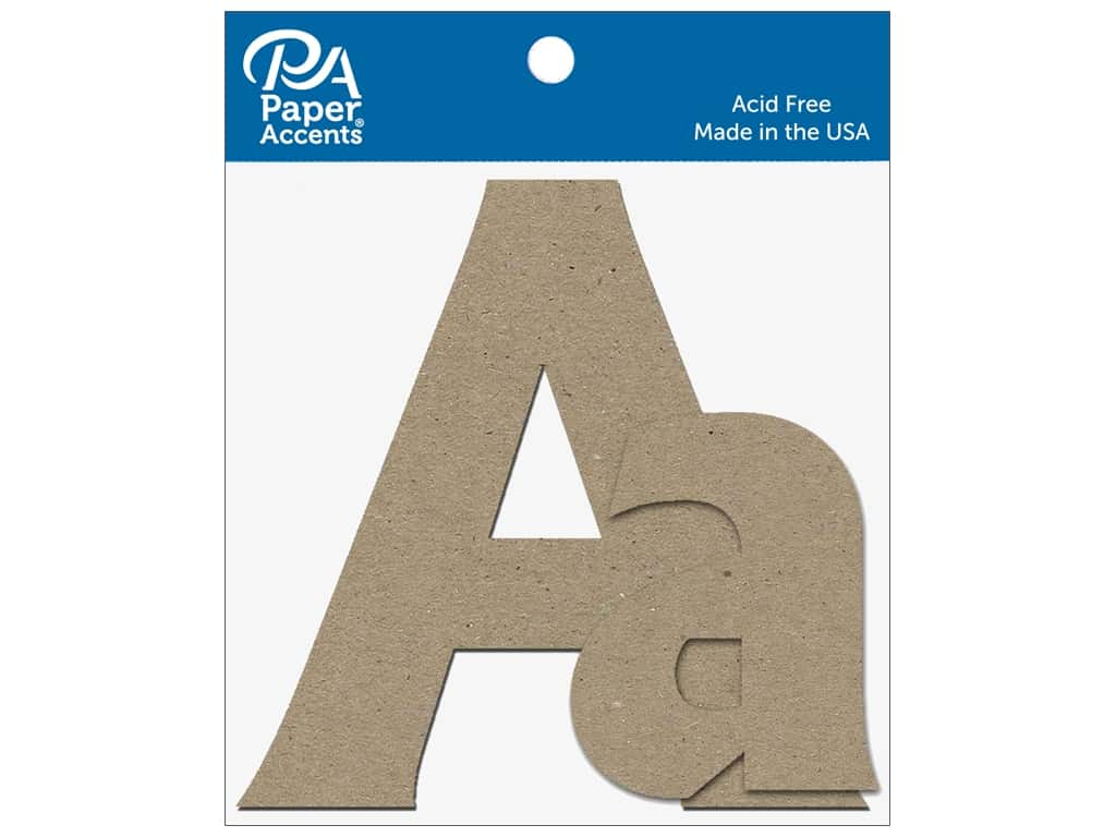 "Paper Accents Chipboard Shape Letters ""Aa"" 4 in. 2 pc. Natural"