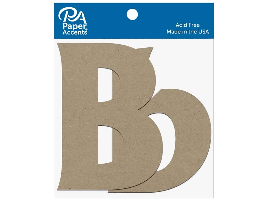 """Paper Accents Chipboard Shape Letters """"Bb"""" 4 in. 2 pc. Natural"""