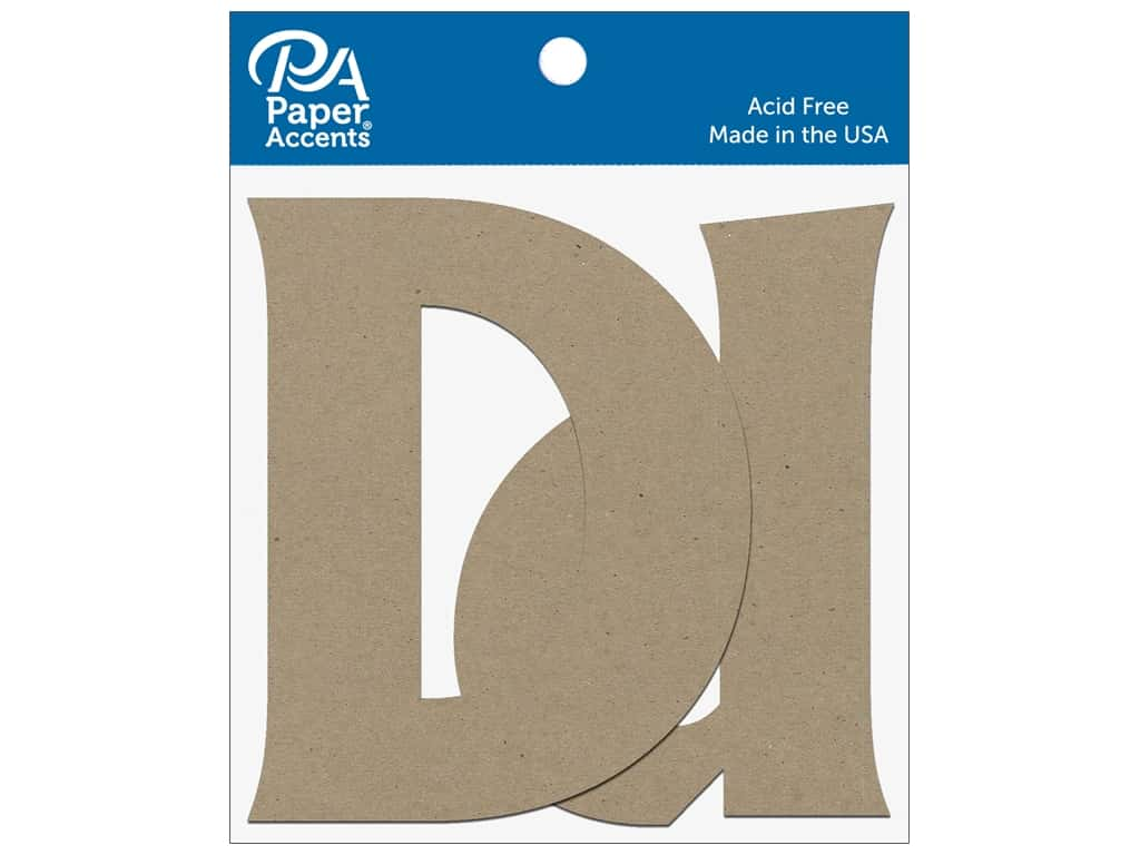 "Paper Accents Chipboard Shape Letters ""Dd"" 4 in. 2 pc. Natural"