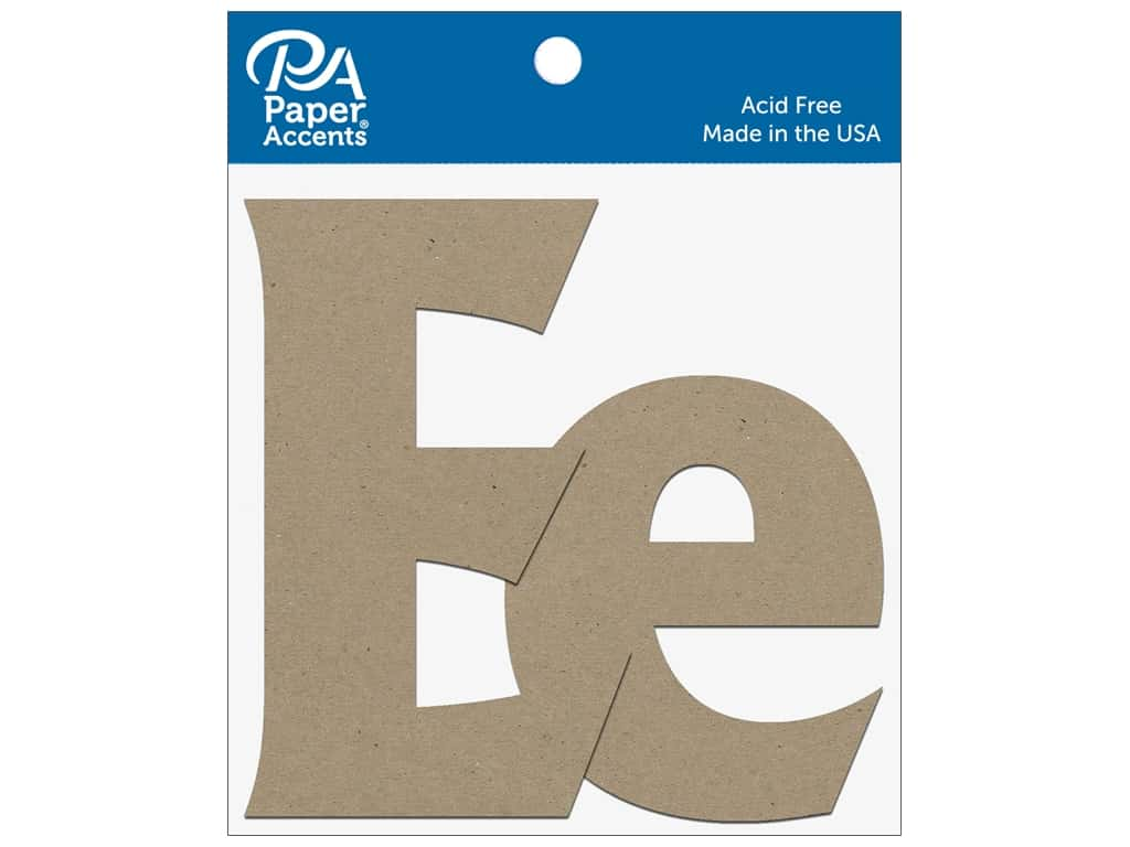 """Paper Accents Chipboard Shape Letters """"Ee"""" 4 in. 2 pc. Natural"""