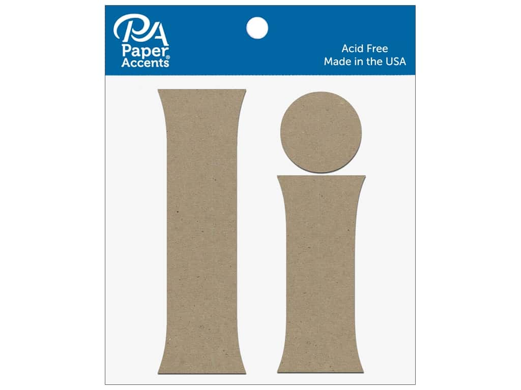 """Paper Accents Chipboard Shape Letters """"Ii"""" 4 in. 2 pc. Natural"""