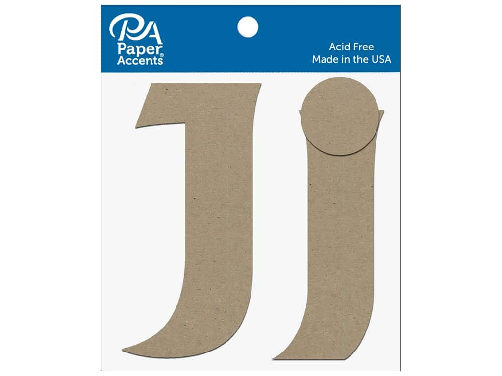 """Paper Accents Chipboard Shape Letters """"Jj"""" 4 in. 2 pc. Natural"""