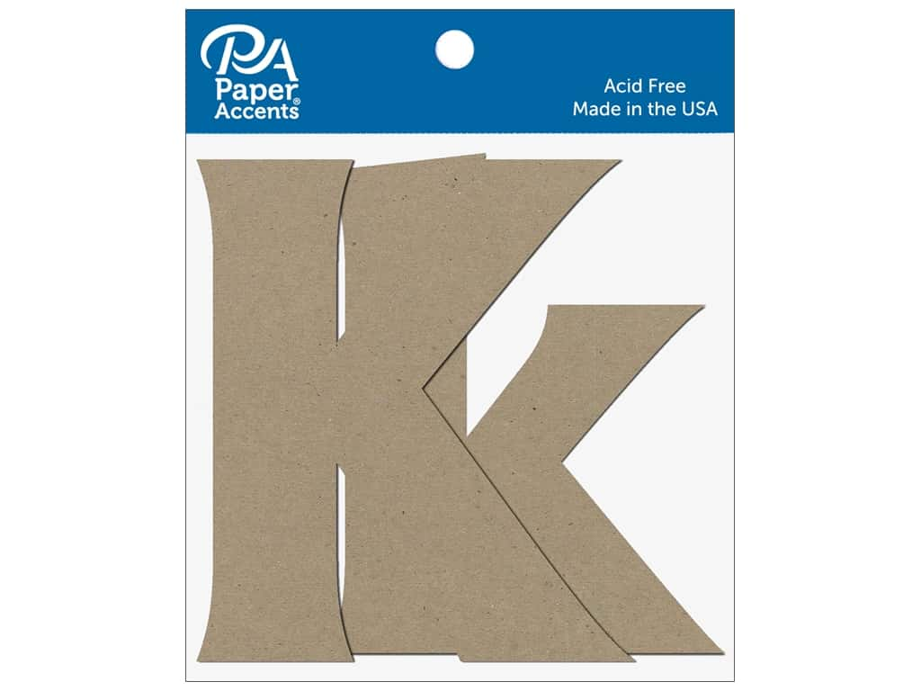 "Paper Accents Chipboard Shape Letters ""Kk"" 4 in. 2 pc. Natural"