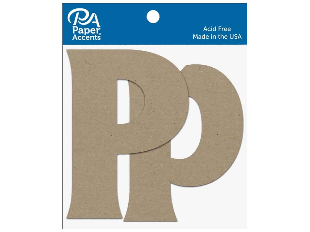 """Paper Accents Chipboard Shape Letters """"Pp"""" 4 in. 2 pc. Natural"""