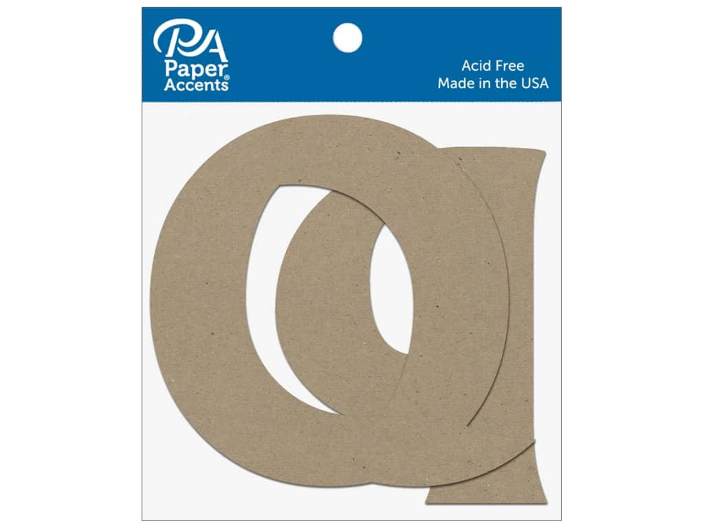 """Paper Accents Chipboard Shape Letters """"Qq"""" 4 in. 2 pc. Natural"""