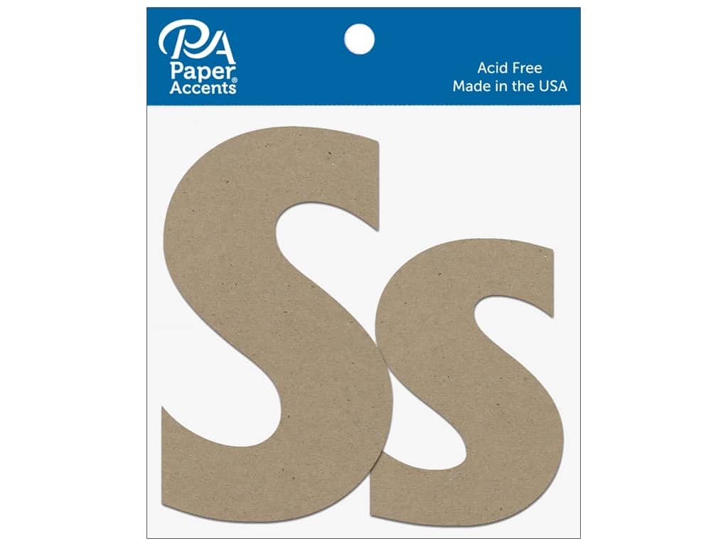 "Paper Accents Chipboard Shape Letters ""Ss"" 4 in. 2 pc. Natural"