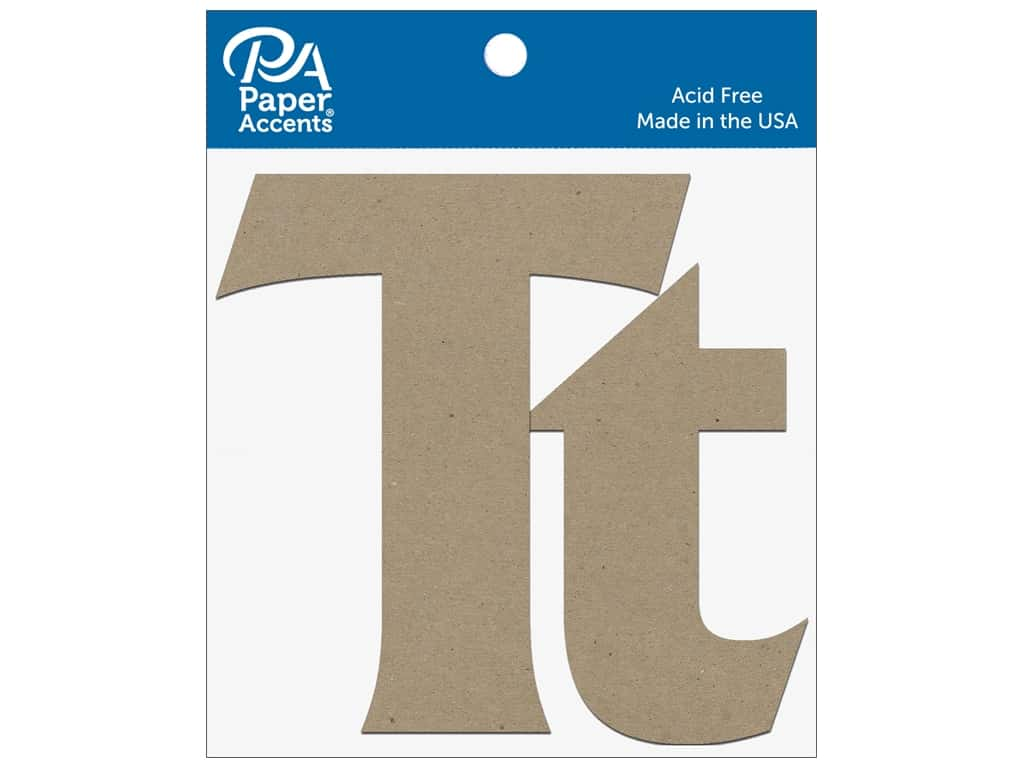 """Paper Accents Chipboard Shape Letters """"Tt"""" 4 in. 2 pc. Natural"""