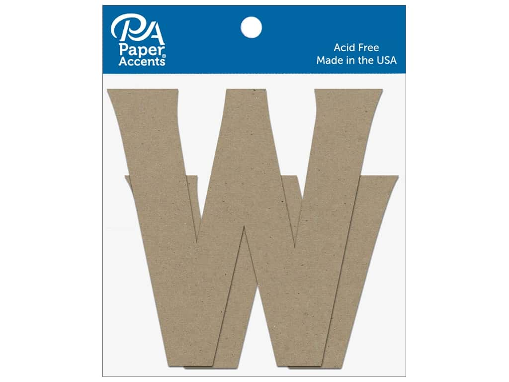 """Paper Accents Chipboard Shape Letters """"Ww"""" 4 in. 2 pc. Natural"""