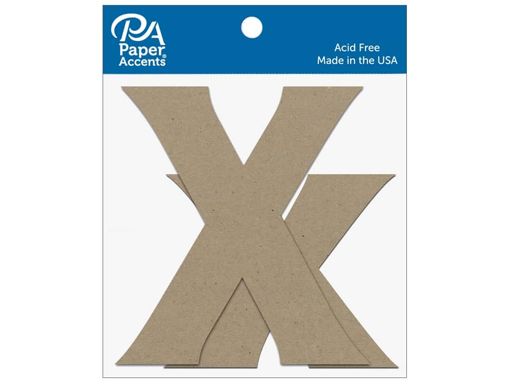 """Paper Accents Chipboard Shape Letters """"Xx"""" 4 in. 2 pc. Natural"""