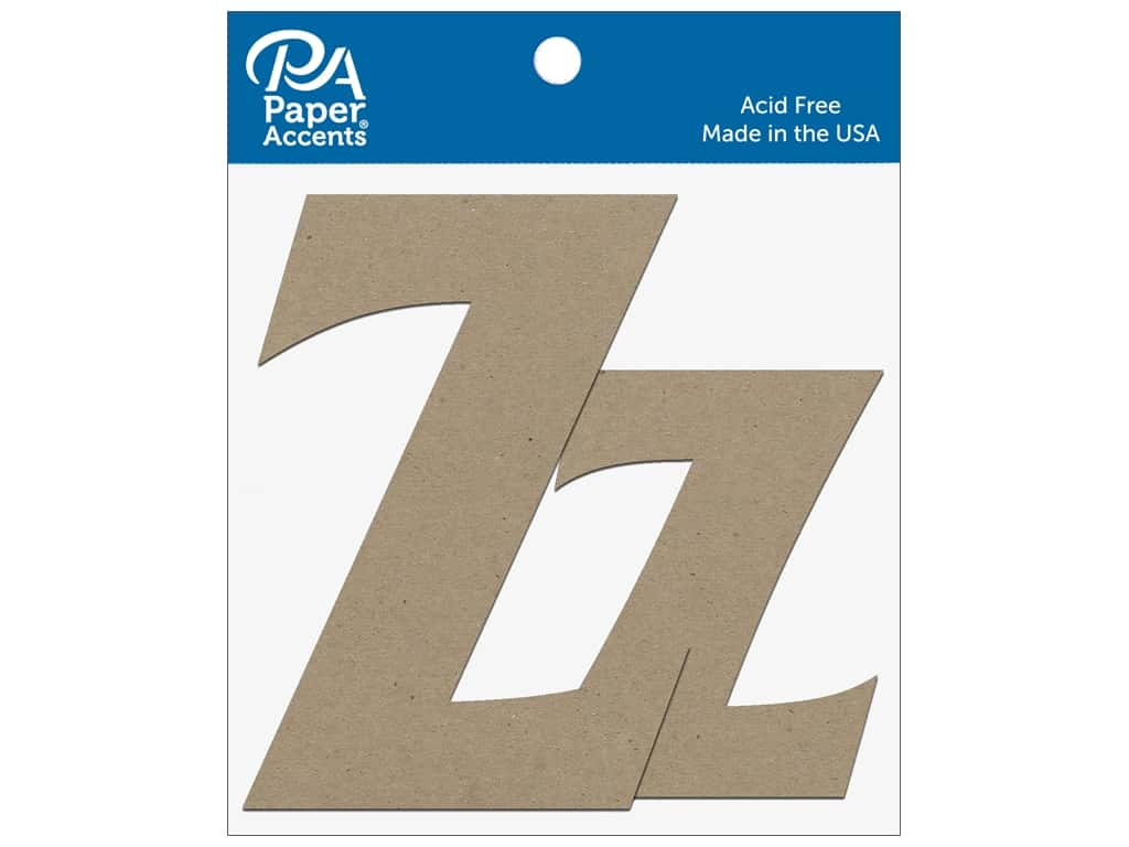 """Paper Accents Chipboard Shape Letters """"Zz"""" 4 in. 2 pc. Natural"""