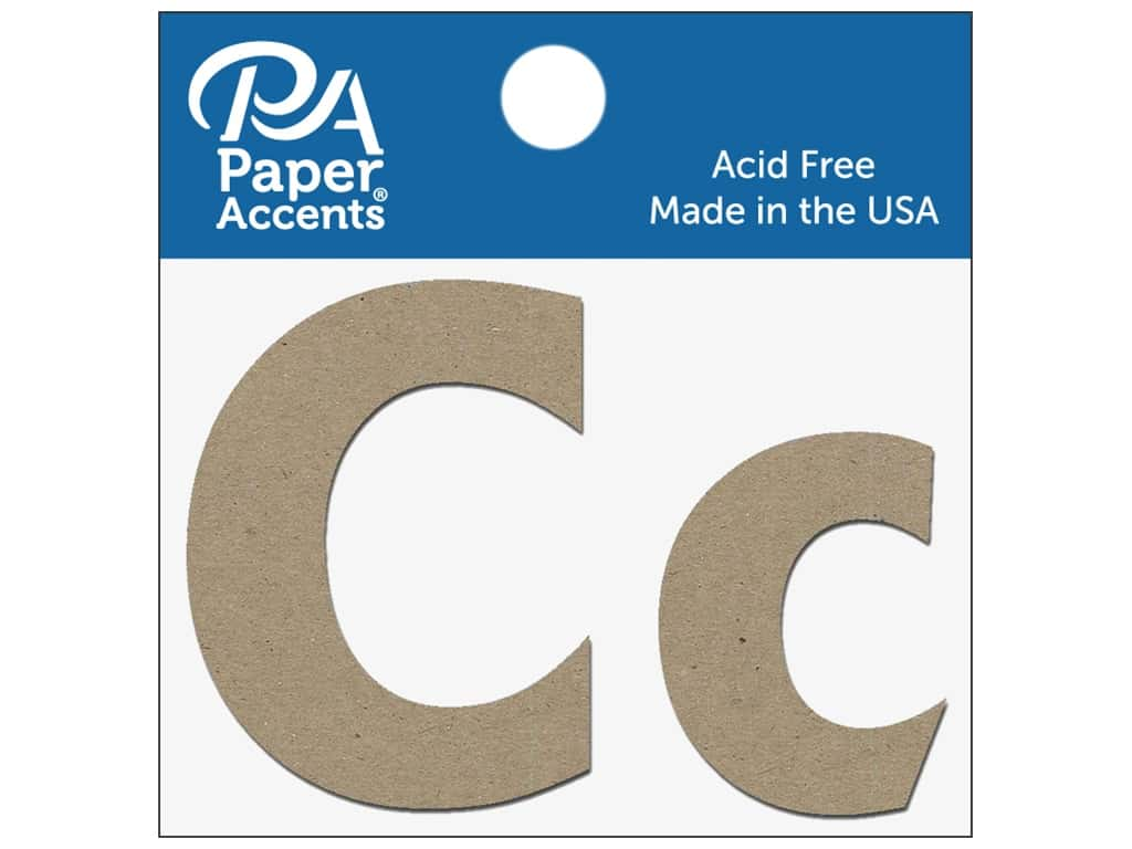 "Paper Accents Chipboard Shape Letters ""Cc"" 2 in. 2 pc. Natural"