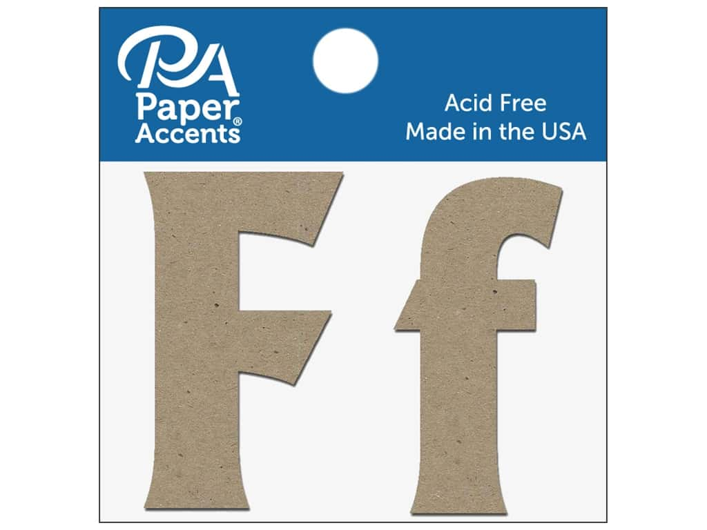 """Paper Accents Chipboard Shape Letters """"Ff"""" 2 in. 2 pc. Natural"""