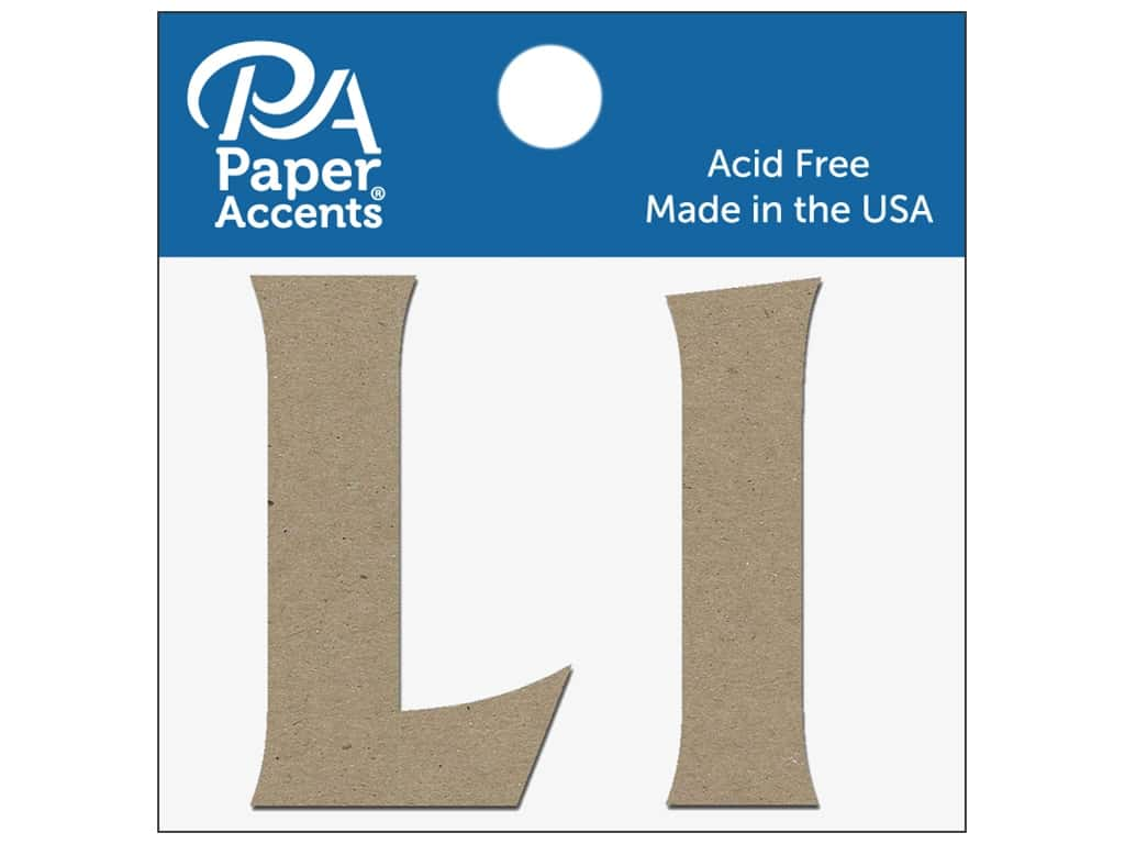"""Paper Accents Chipboard Shape Letters """"Ll"""" 2 in. 2 pc. Natural"""