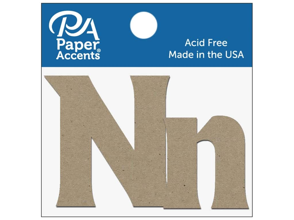 "Paper Accents Chipboard Shape Letters ""Nn"" 2 in. 2 pc. Natural"