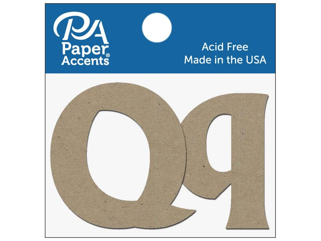 """Paper Accents Chipboard Shape Letters """"Qq"""" 2 in. 2 pc. Natural"""