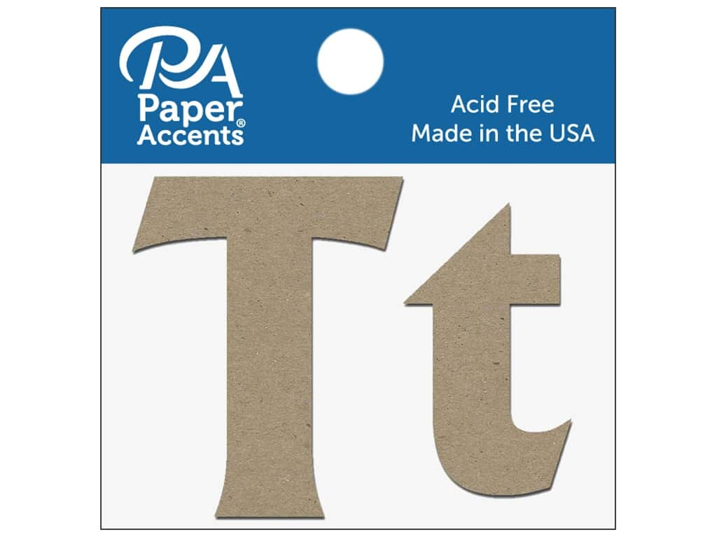 """Paper Accents Chipboard Shape Letters """"Tt"""" 2 in. 2 pc. Natural"""
