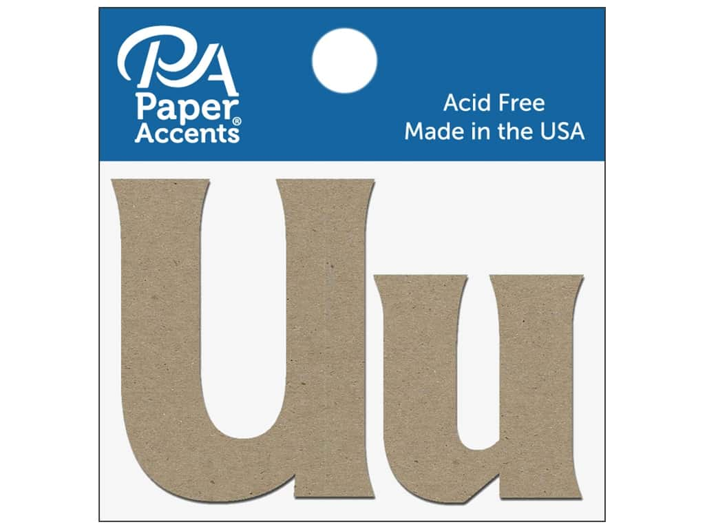 "Paper Accents Chipboard Shape Letters ""Uu"" 2 in. 2 pc. Natural"