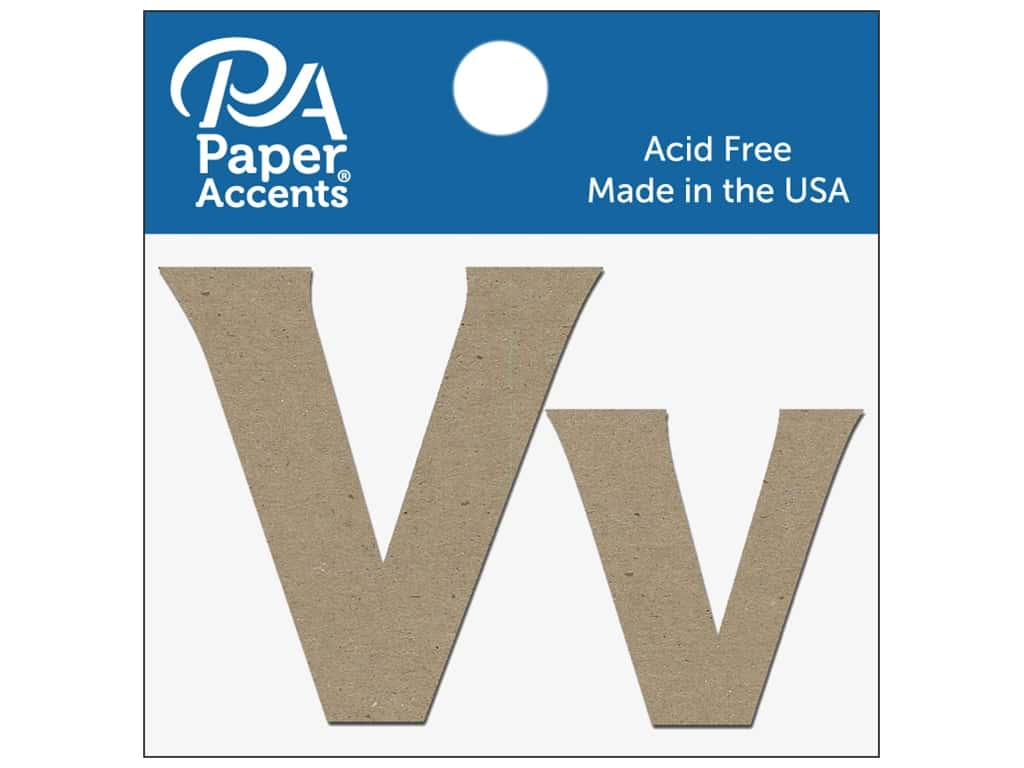 "Paper Accents Chipboard Shape Letters ""Vv"" 2 in. 2 pc. Natural"