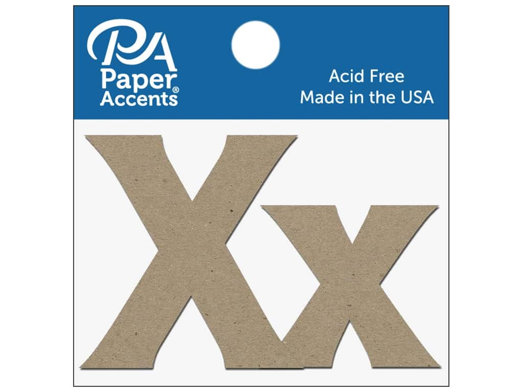 "Paper Accents Chipboard Shape Letters ""Xx"" 2 in. 2 pc. Natural"