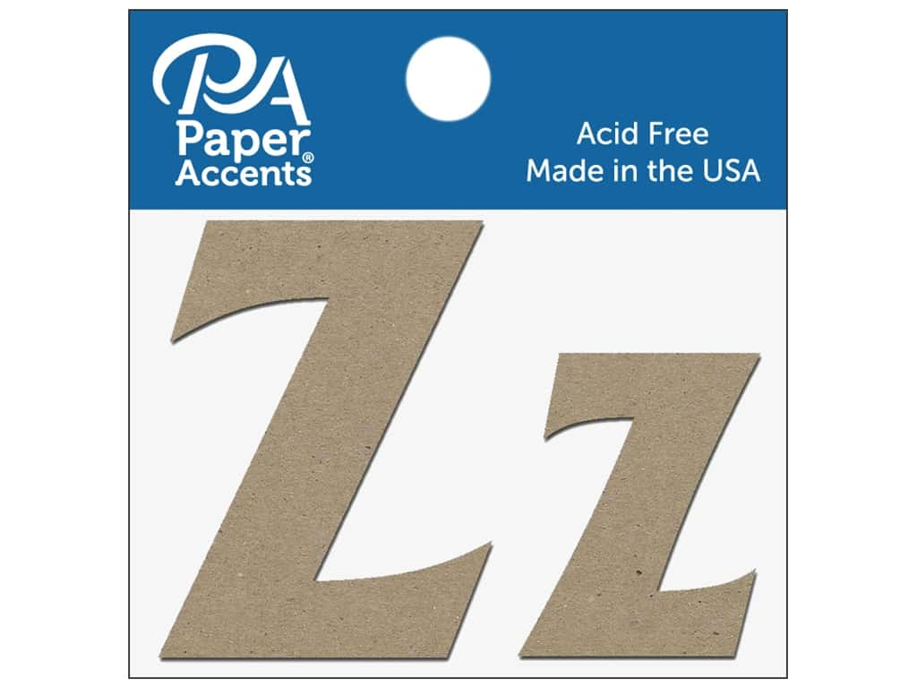 "Paper Accents Chipboard Shape Letters ""Zz"" 2 in. 2 pc. Natural"