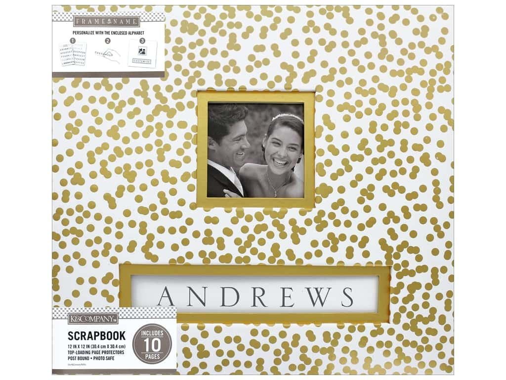K & Company 12 x 12 in. Scrapbook Frame A Name Album Gold Foil Scatter