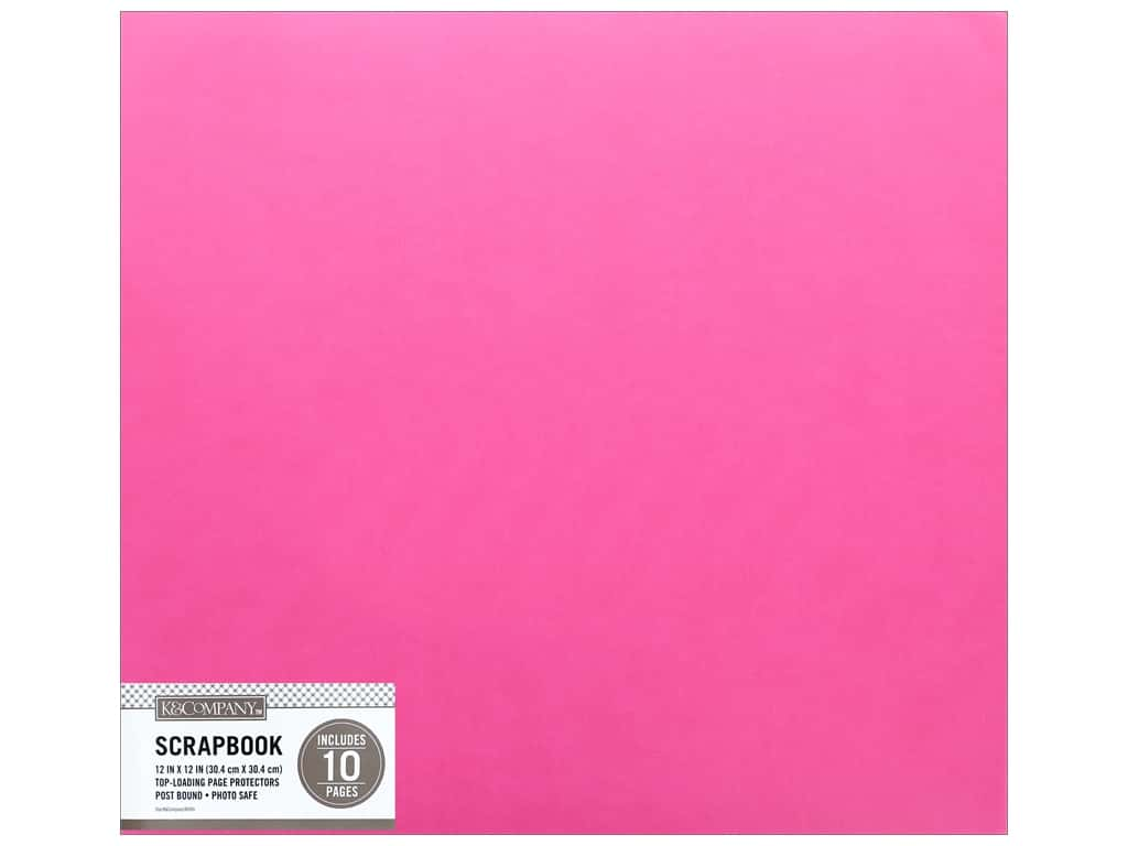 K & Company 12 x 12 in. Scrapbook Album Faux Leather Bright Pink