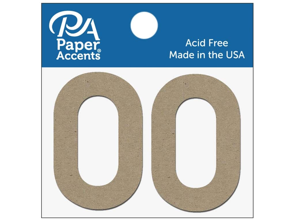 """Paper Accents Chipboard Shape Numbers """"0"""" 2 in. 2 pc Natural"""