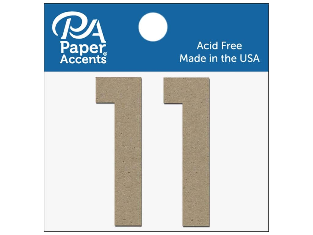 "Paper Accents Chipboard Shape Numbers ""1"" 2 in. 2 pc. Natural"