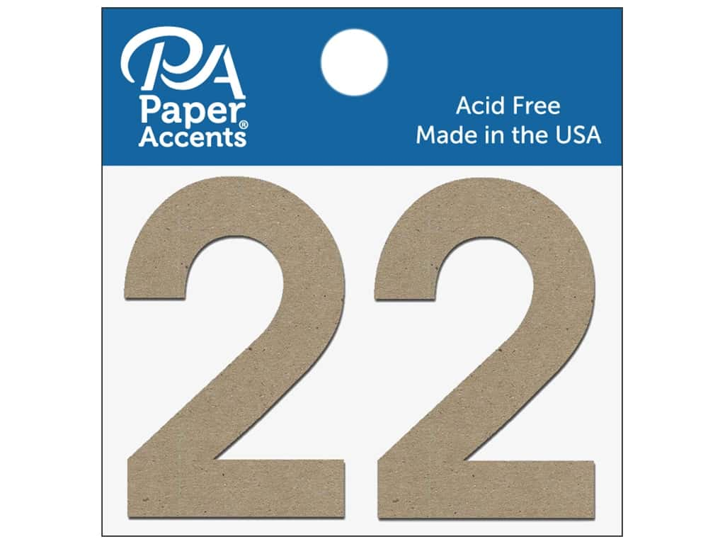 "Paper Accents Chipboard Shape Numbers ""2"" 2 in. 2 pc. Natural"