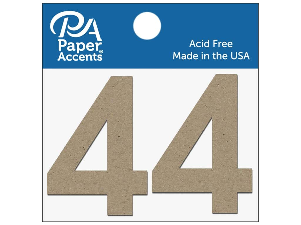 """Paper Accents Chipboard Shape Numbers """"4"""" 2 in. 2 pc. Natural"""