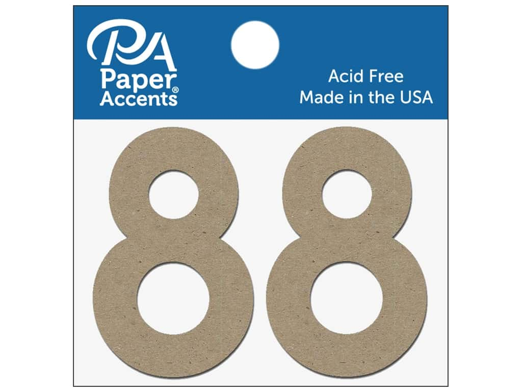 "Paper Accents Chipboard Shape Numbers ""8"" 2 in. 2 pc Natural"