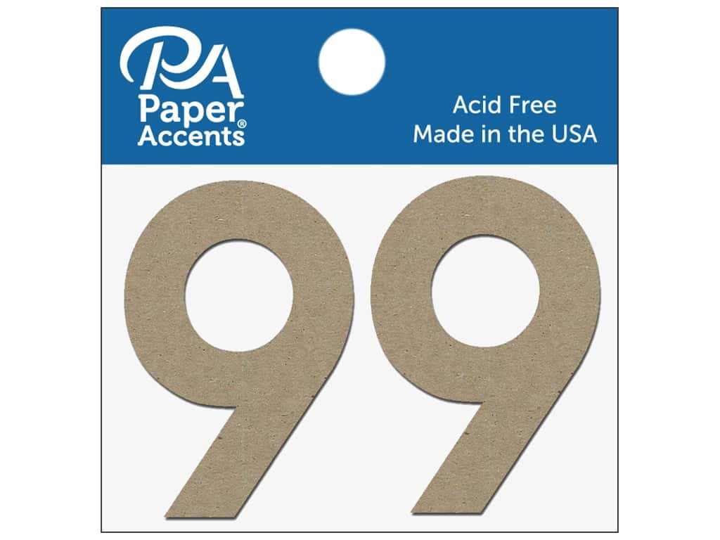 """Paper Accents Chipboard Shape Numbers """"9"""" 2 in. 2 pc. Natural"""