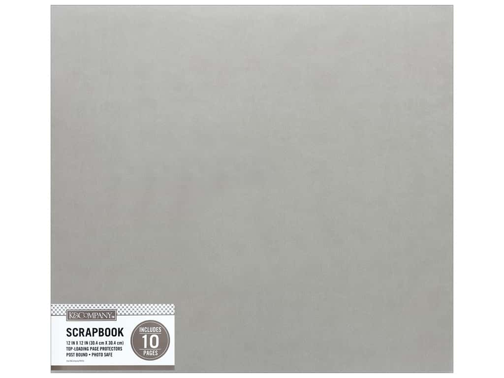 K & Company 12 x 12 in. Scrapbook Album Faux Leather Gray